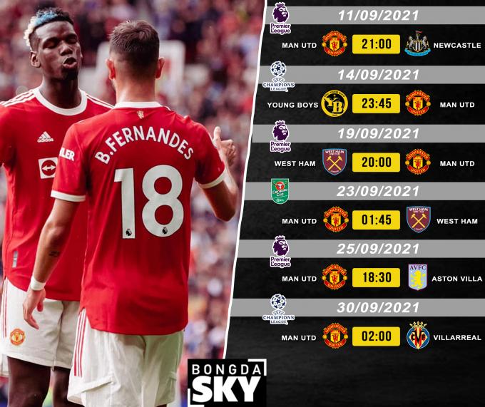 Lịch thi đấu của Man United trong tháng 9/2021: hai lần đụng độ thầy Moyes