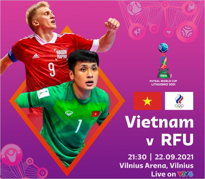 Trận đấu giữa ĐT Futsal Việt Nam vs Nga <b>diễn ra lúc mấy giờ, kênh nào trực tiếp</b>?