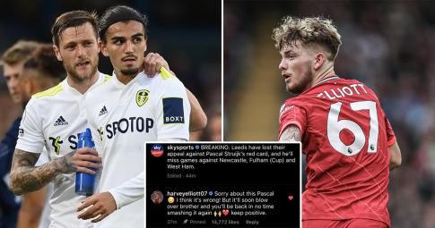 """Harvey Elliott """"nói lời gan ruột"""" với Pascal Struijk hậu quyết định của FA"""