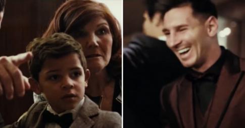 Con trai Cristiano Ronaldo ngỡ ngàng vì <b>Lionel Messi quá nhỏ bé</b>