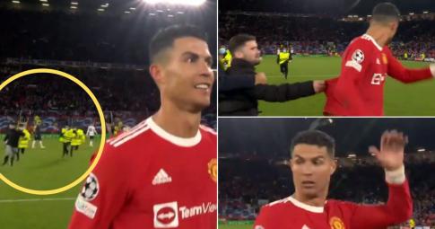 """<b>Ronaldo bị fan cuồng """"tấn công"""" chớp nhoáng</b> sau màn tỏa sáng trước Atalanta"""